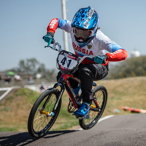 #41 (SUVOROVA Natalia) RUS  at Round 9 of the 2019 UCI BMX Supercross World Cup in Santiago del Estero, Argentina